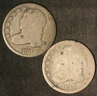 1829 AND 1835 10C CAPPED BUST DIMES - SHIPS FREE USA