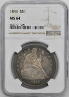 1843 LIBERTY SEATED S$1 NGC MINT STATE 64