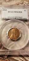 1919 P LINCOLN WHEAT CENT PCGS MINT STATE 63 RB  WOODY WOOD GRAIN. SHIPPING NEXT DAY