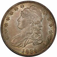 1834 50C LARGE DATE, SMALL LETTERS CAPPED BUST HALF DOLLAR PCGS MINT STATE 64 CAC
