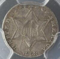 1858 THREE CENT SILVER PCGS VF35 - AWESOME TYPE COIN - DOUBLEJCOINS 3007-74