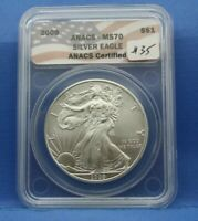 2009 AMERICAN SILVER EAGLE 999 1 OUNCE ANACS MS 70 FLAG LABEL AC