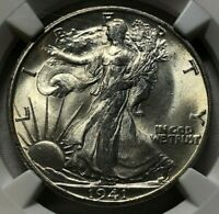 1941 S SILVER WALKING LIBERTY HALF DOLLAR 50C NGC MINT STATE 65  LUSTROUS W/GREAT STRIKE