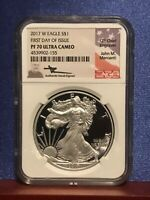 2017 W PROOF SILVER EAGLE FIRST DAY OF ISSUE NGC PF70 MERCANTI HAND SIGNED FLAG