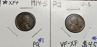 1914-S & 1915-S EXTRA FINE  LINCOLN CENT PQ WHEAT CENT 2 KEY DATE 1 PROBLEM FREE COINS
