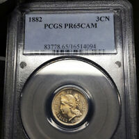 1882 PR65 CAM THREE CENT NICKEL 3CN PROOF PCGS GRADED PF65 CAMEO