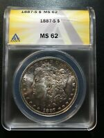1887 S MORGAN DOLLAR ANACS MINT STATE 62 - UNCIRCULATED - GOOD DATE - CERTIFIED SLAB -$1