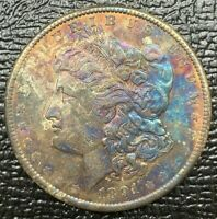 1891-P MORGAN SILVER DOLLAR NATURAL NEON TONED VIBRANT COLOR BU UNC
