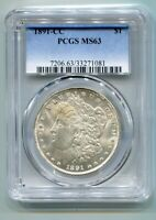 1891-CC MORGAN SILVER DOLLAR PCGS MINT STATE 63 TOP 100 VAM 3 SPITTING EAGLE ORIGINAL