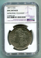 1897-O MORGAN SILVER DOLLAR NGC UNC DETAIL IMPROPERLY CLEANED  LOOKING COIN