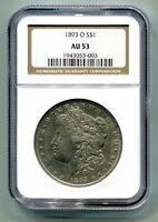 1893-O MORGAN SILVER DOLLAR NGC AU53 CHOICE ABOUT UNCIRCULATED PREMIUM QUALITY
