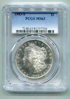1883-S MORGAN SILVER DOLLAR PCGS MINT STATE 63  ORIGINAL COIN FROM BOBS COINS