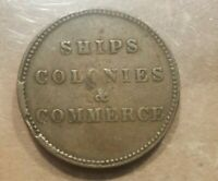 SHIPS COLONIES COMMERCE TOKEN CANADA 1/2 P. PE 10 12 CUD MAJOR DIE BREAK ERROR