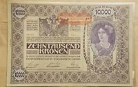 1918 AUSTRIA 10 000 KRONEN NOTE WORLD WAR ONE RELIC BANKNOTE P 66 AU ABOUT UNC