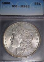 1900 MORGAN SILVER DOLLAR, ICG  MINT STATE 62, ISSUE FREE.