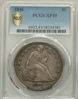 1846 SEATED LIBERTY DOLLAR $1 PCGS EXTRA FINE 45 COIN