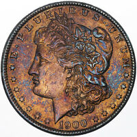 1900-P MORGAN SILVER DOLLAR BU VIBRANT ORANGE BLUE COLOR UNC VIVID TONING MR