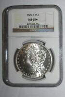 1882 S MORGAN SILVER DOLLAR MINT STATE 65 NGC 004