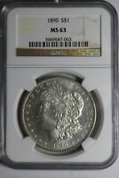 1890 MORGAN SILVER DOLLAR NGC MINT STATE 63 63 REVERSE PL
