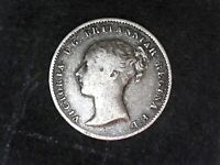 F /VF  GREAT BRITAIN 1844 FOUR PENCE GROAT VICTORIA NICE CLE