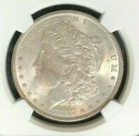 1887 MORGAN SILVER DOLLAR  NGC MINT STATE 63 BEAUTIFUL TONED COIN REF12-048