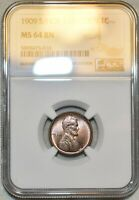 NGC MS 64 BN 1909 S/S LINCOLN CENT BEAUTIFUL SPECIMEN SHOULD