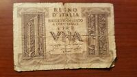 1939 ITALY 1 LIRA ONE LIRE ITALIAN NOTE BANKNOTE P 26 BILL WORLD WAR TWO RELIC