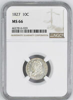 1827 CAPPED BUST 10C NGC MINT STATE 66