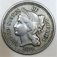 1870 THREE CENT NICKEL BEAUTIFUL HIGH GRADE COIN  DATE