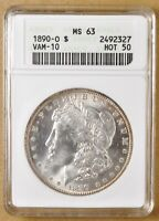 1890 O MORGAN SILVER DOLLAR VAM-10 COMET ANACS MINT STATE 63 - HOT 50