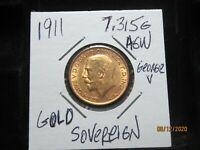 GOLD 1911 SOVEREIGN   GREAT BRITAIN  7.315 GRAMS AGW   UNC B