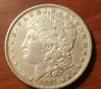 1891 O MORGAN SILVER DOLLAR LIBERTY HEAD $1 STRUCK THROUGH GREASE ERROR COIN