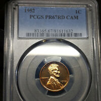 1952 PR67 CAM RD LINCOLN WHEAT CENT 1C PROOF, PCGS GRADED PF67 CAMEO RED