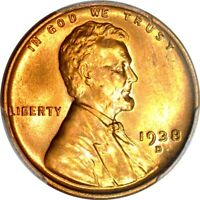 1938-D 1C LINCOLN CENT PCGS MINT STATE 66RD