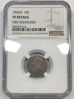 1824/2 CAPPED BUST DIME - NGC VF DETAILS  [C427E]