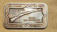 WINCHESTER MODEL 1873 1 OUNCE SILVER ART BAR 1 OZ .999 FINE INGOT 1OZ