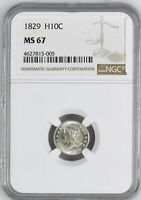 1829 CAPPED BUST H10C NGC MS 67