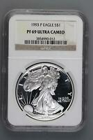 1993 P PROOF SILVER EAGLE NGC PF69 UCAM DOUBLEJCOINS 5006-83