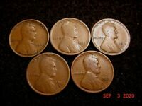 LOT 1909-P 1913-D 1915-D 1916-D 1926-D CIRCULATED LINCOLN WHEAT CENTS