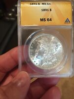 1891 MORGAN DOLLAR -MINT STATE 64  BRIGHT WHITE