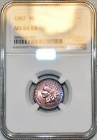 NGC MS 64 RB 1887 INDIAN HEAD CENT BEAUTIFULLY TONED SPECIME