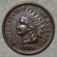 ABOUT UNCIRCULATED 1865 FANCY INDIAN HEAD CENT SHARP LUSTROU