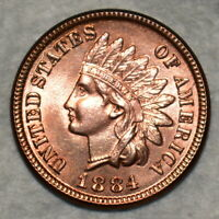 BRILLIANT UNCIRCULATED 1884 INDIAN HEAD CENT BLAZING FULL RE