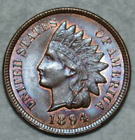 BRILLIANT UNCIRCULATED 1894 INDIAN HEAD CENT BEAUTIFULLY TON