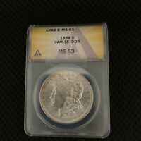 1888 MORGAN - VAM-16 DDR - MINT STATE 63 GRADE - MINT STATE 65 VALUE $269 - GRADED COIN