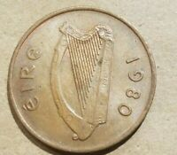 1980 IRELAND 2 PENCE 1/50 PUNT IRISH COIN EIRE HARP AND CRANE SOUVENIR NICE