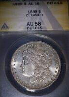 1899 MORGAN SILVER DOLLAR, ANACS AU58. TOUGH DATE, HINTS OF PROOF LIKE