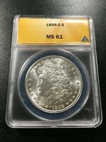1898 O MORGAN DOLLAR ANACS MINT STATE 61 - UNCIRCULATED - LUSTER - CERTIFIED SLAB - $1