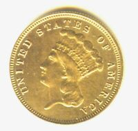1882 $3 PRINCESS GOLD MS DETAILS IN GRADE  GOLD TYPE COIN WIPED