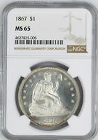 1867 LIBERTY SEATED S$1 NGC MINT STATE 65